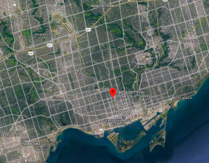 Map of Toronto with the Centre for Ethics marked by a red pin.