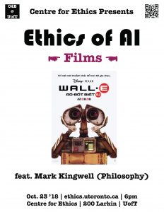 Poster: Wall-E Film poster with the words 'feat. Mark Kingwell (Philosophy)'