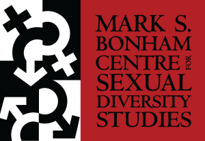 Logo: Mark S. Bonham Centre for Sexual Diversity Studies on a red background with an image of jumbled gender symbols in black and white on the left side.